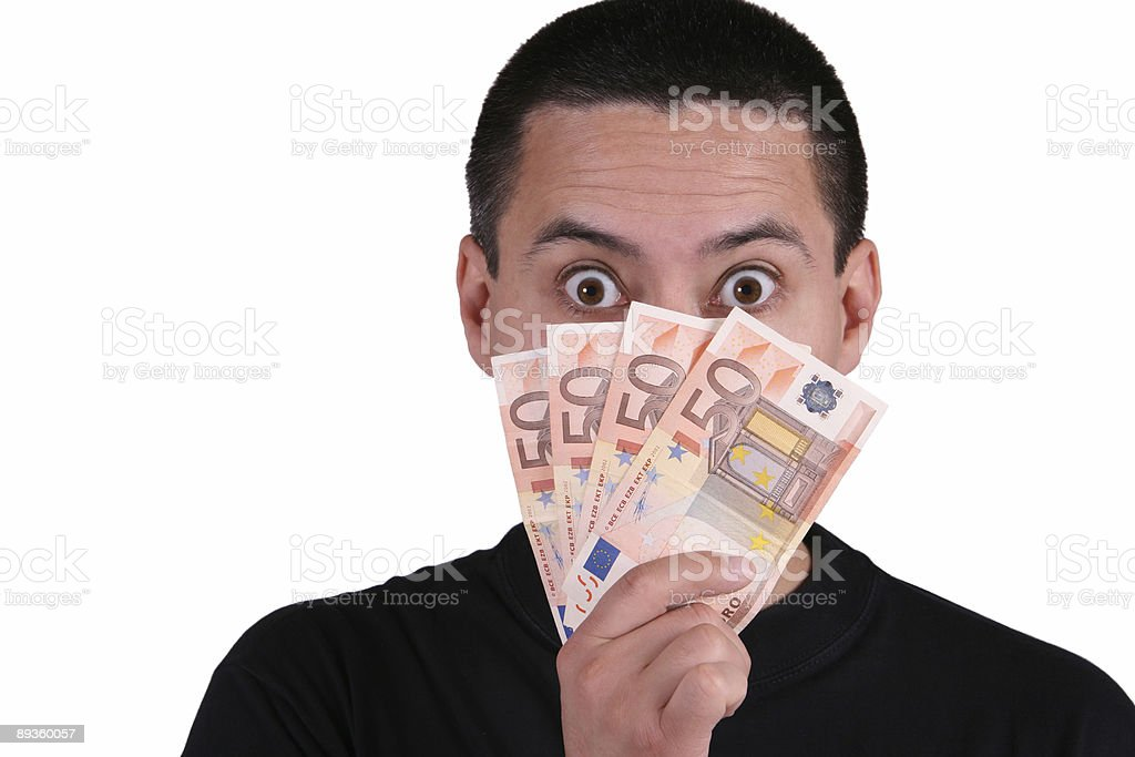 Hiding behind money royalty free stockfoto