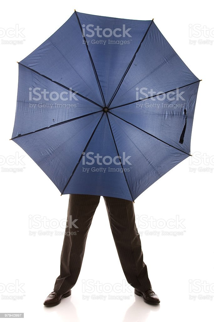 hiding bewind an umbrella royalty-free stock photo