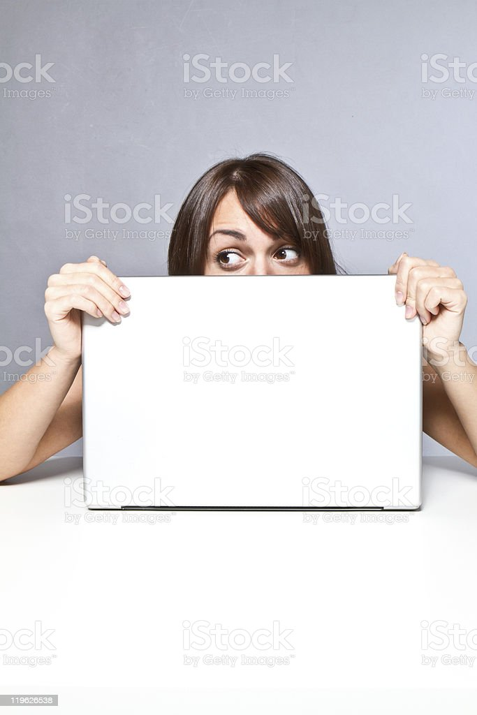 hiding in office royalty-free stock photo
