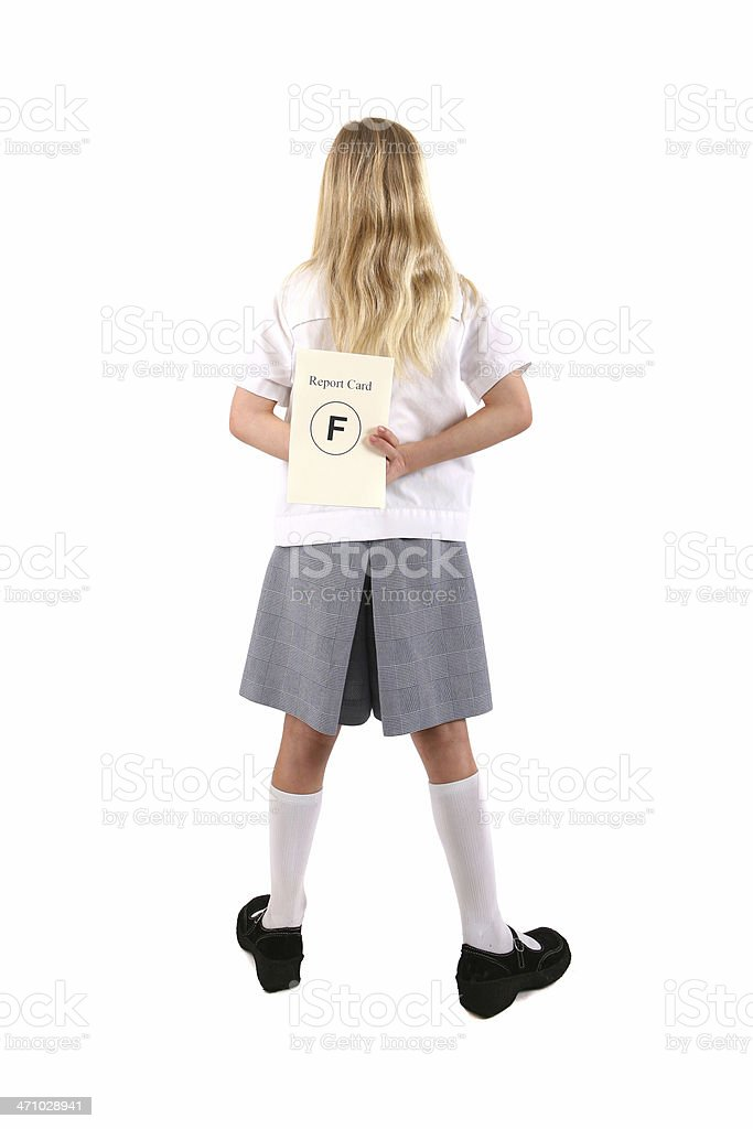 Hiding Report Card stock photo