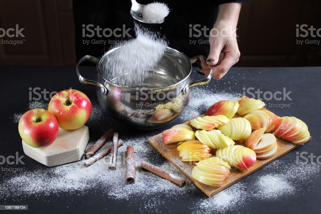 Сhief Cookes Sugar Syrup In A Saucepan For Apples Baking On