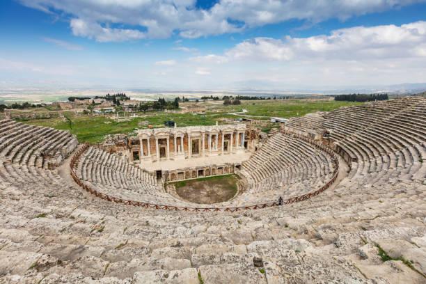 Hierapolis ancient city ruins, North Roman Gate, Pamukkale, Denizli, Turkey stock photo