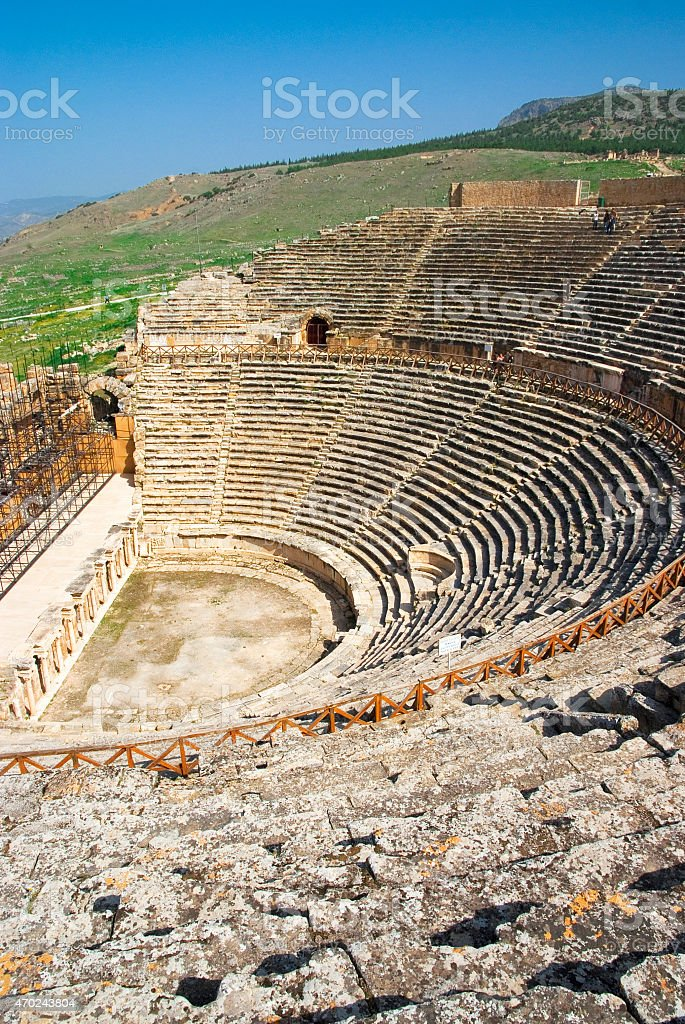 Hierapolis theater in Turkey Denizli stock photo