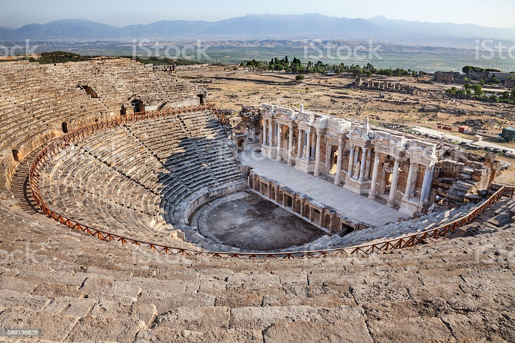Hierapolis  Theater in Turkey stock photo