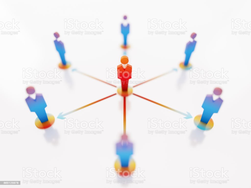 Hierarchical Communication Concept- Red And Blue Man Icons With Arrow Symbols Over White Background stock photo