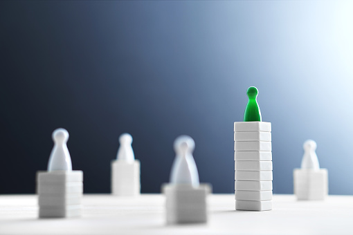 istock Hierarchy, power, management and leadership concept. Being unique and the best. Dominance, victory and winning challenge. Beat competitors. 917617554