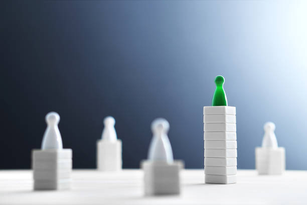 Hierarchy, power, management and leadership concept. Being unique and the best. Dominance, victory and winning challenge. Beat competitors. stock photo