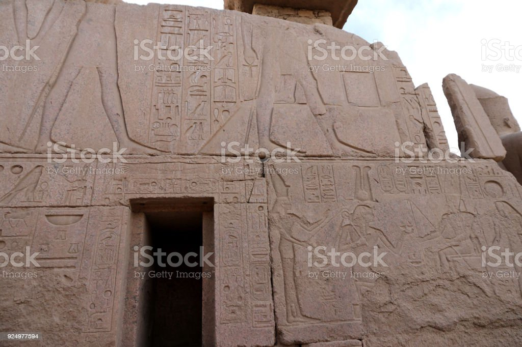 Hieroglyphic carvings on a wall stock photo