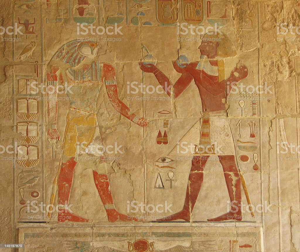 Hieroglyphic Decorations at the Temple of Hatshepsut in Luxor stock photo