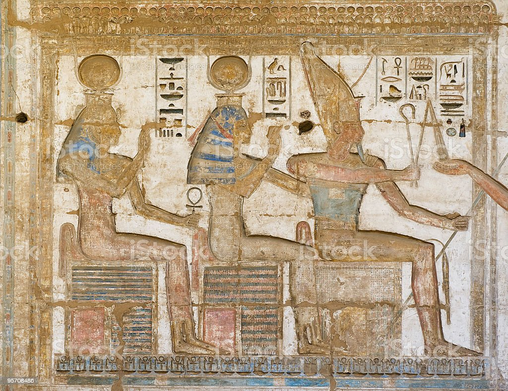 Hieroglyphic paintings on a wall stock photo