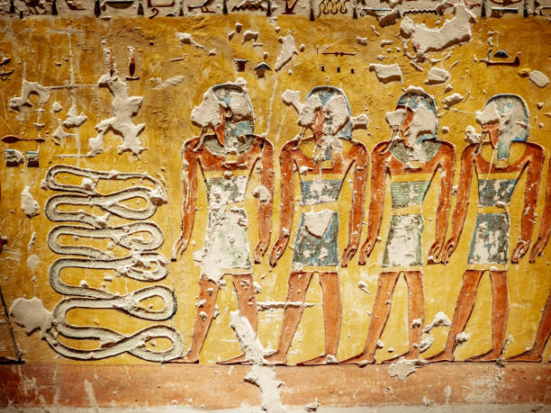 Hieroglyphics depicting the afterlife in the Valley of the Kings Luxor Thebes Egypt stock photo