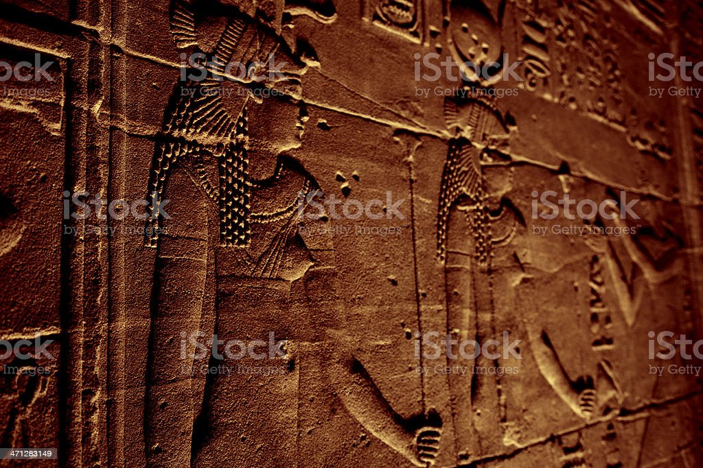 Hieroglyphics Inside Horus Temple stock photo