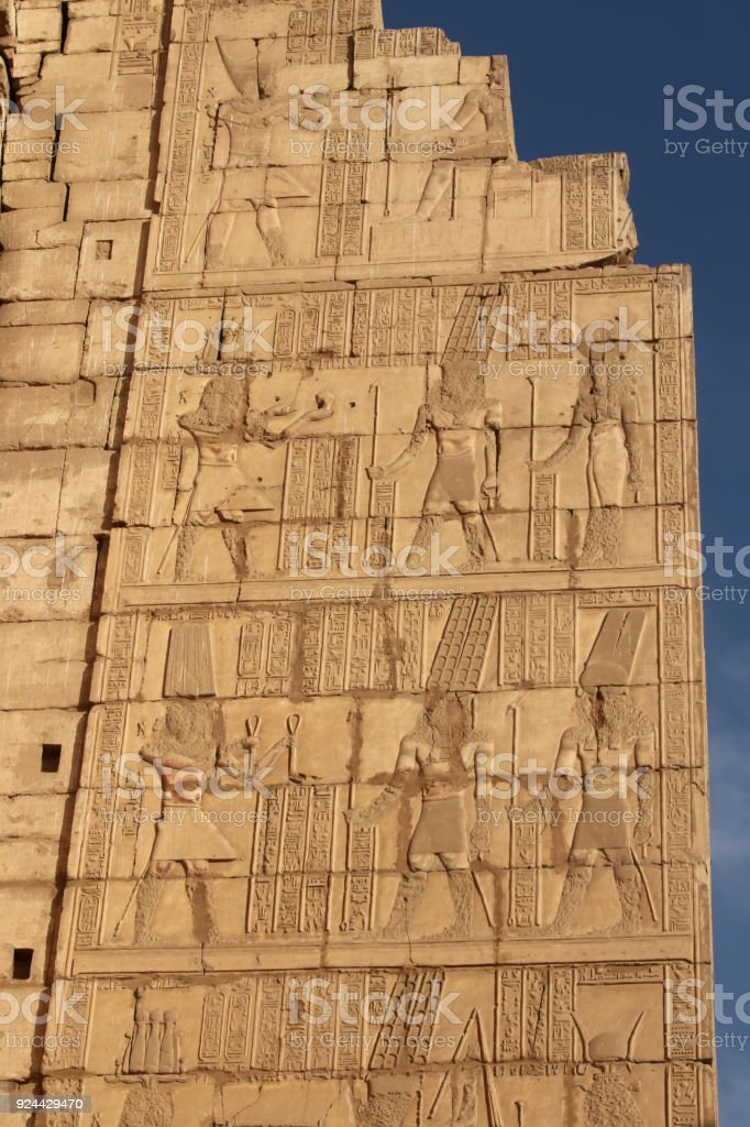 hieroglyphics wall in the Karnak Temple stock photo