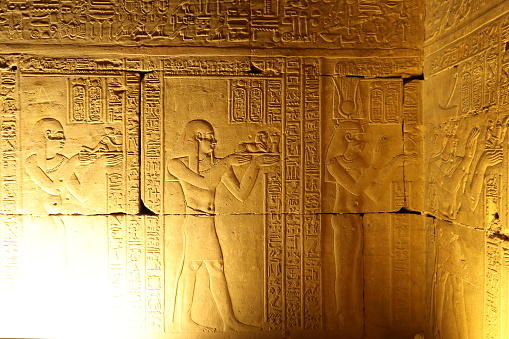 Edfu, Middle East, Stone Material, Wall - Building Feature, Temple - Building
