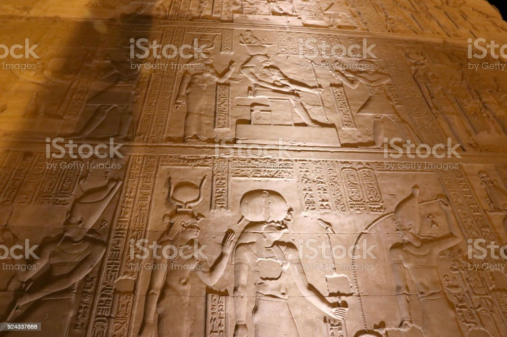 Hieroglyphs at Komb Ombo Temple of Haroeris and Sobek stock photo