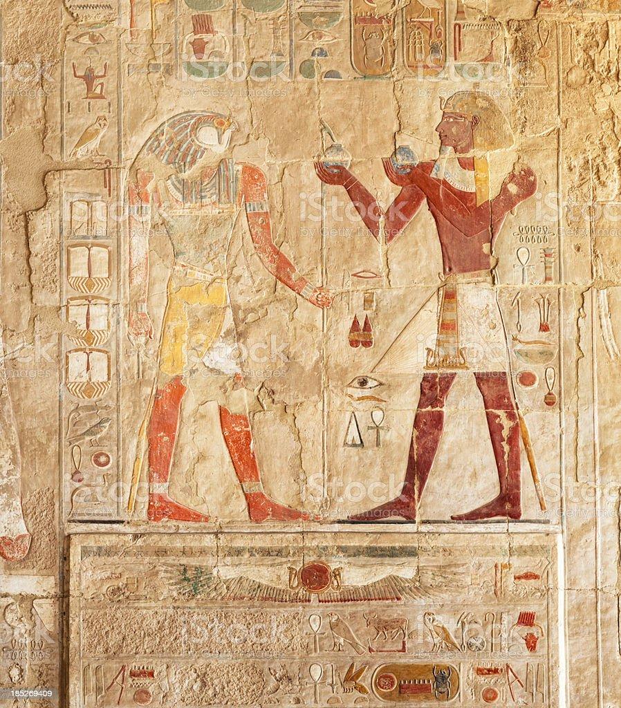 Hieroglyphs on an Egyptian funerary stela of Hatshepsut Temple stock photo