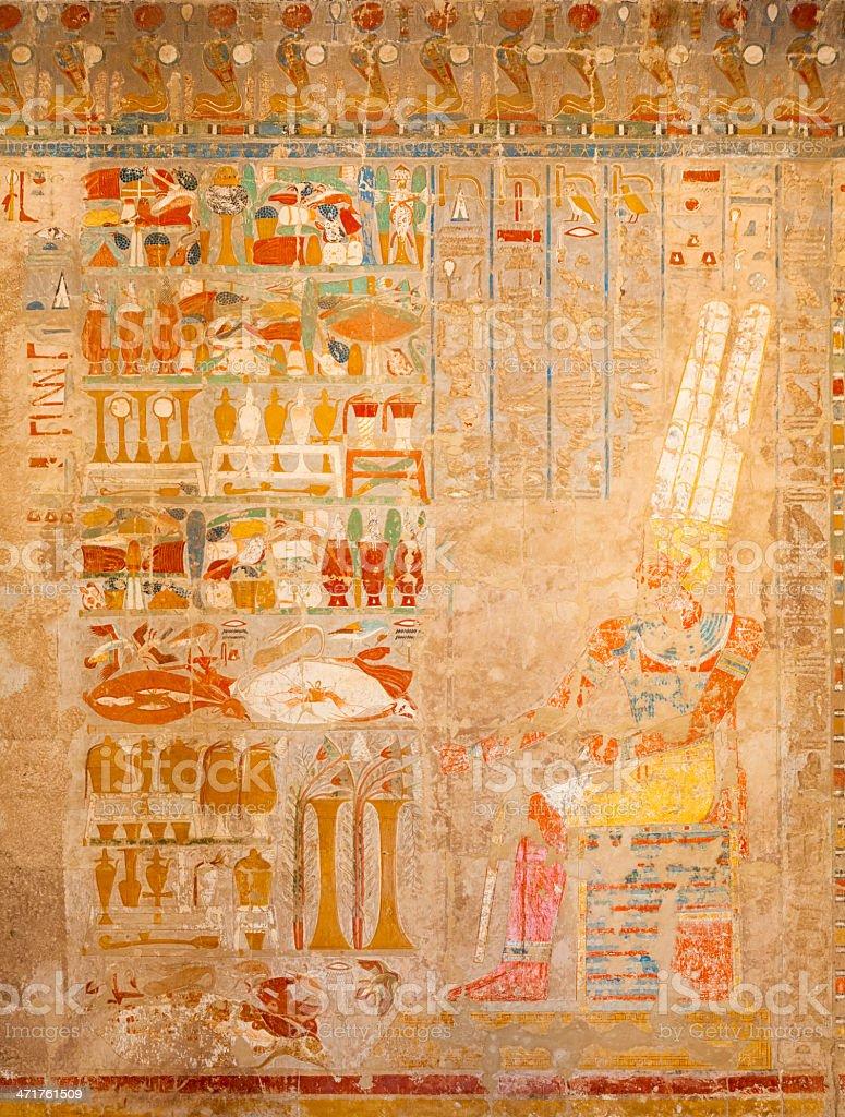 Hieroglyphs in Egitto funebre stela Tempio di Hatshepsut - foto stock