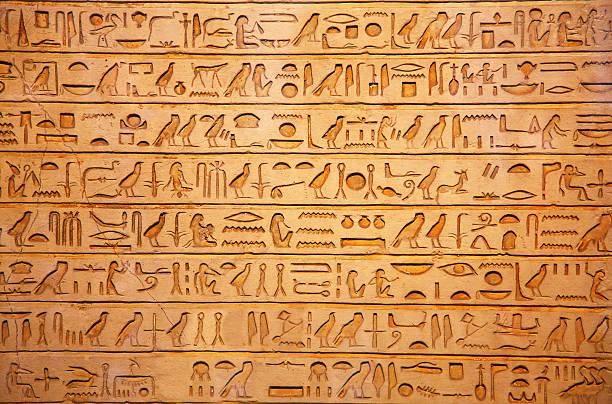 hieroglyphs on the wall - egyptisk kultur bildbanksfoton och bilder