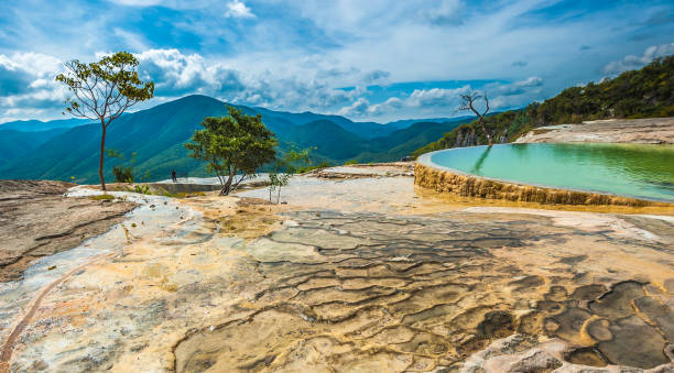 Hierve el Agua, natural rock formations in the Mexican state of Oaxaca stock photo
