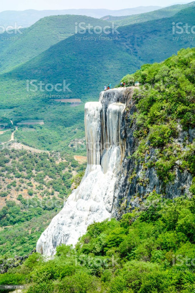 Hierve el Agua. Petrified waterfall in Oaxaca, Mexico stock photo