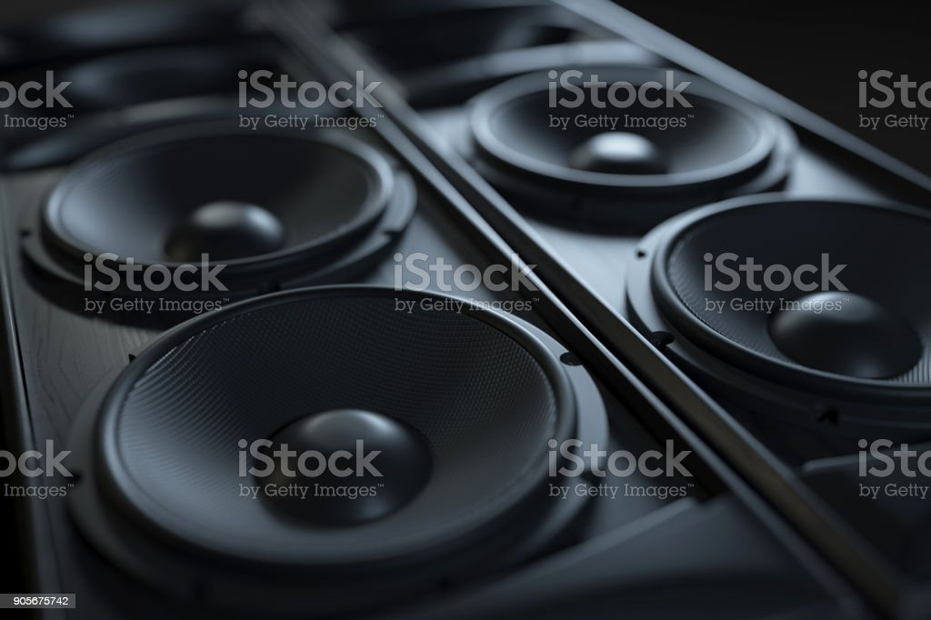 Hi-Fi acoustic sound system closeup. stock photo