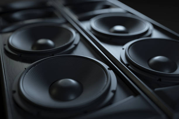 Hi-Fi acoustic sound system closeup. Hi-Fi acoustic sound system closeup. Macro shot. 3d render stereo stock pictures, royalty-free photos & images