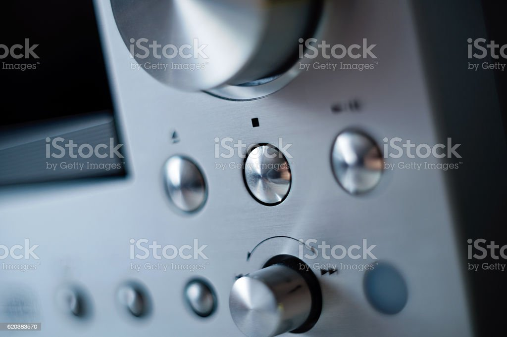 Hi-Fi cd player with with focus on the STOP button stock photo