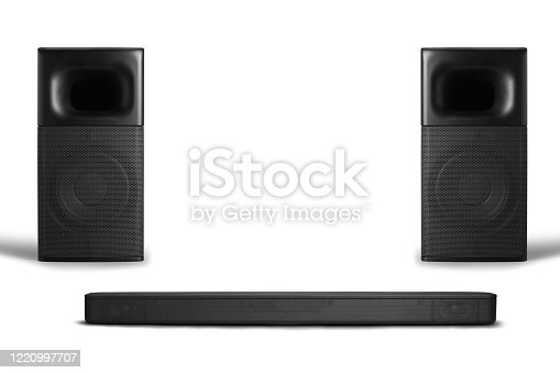 Hi-fi Loud speaker boxes on the white background, audio equipment, sound system