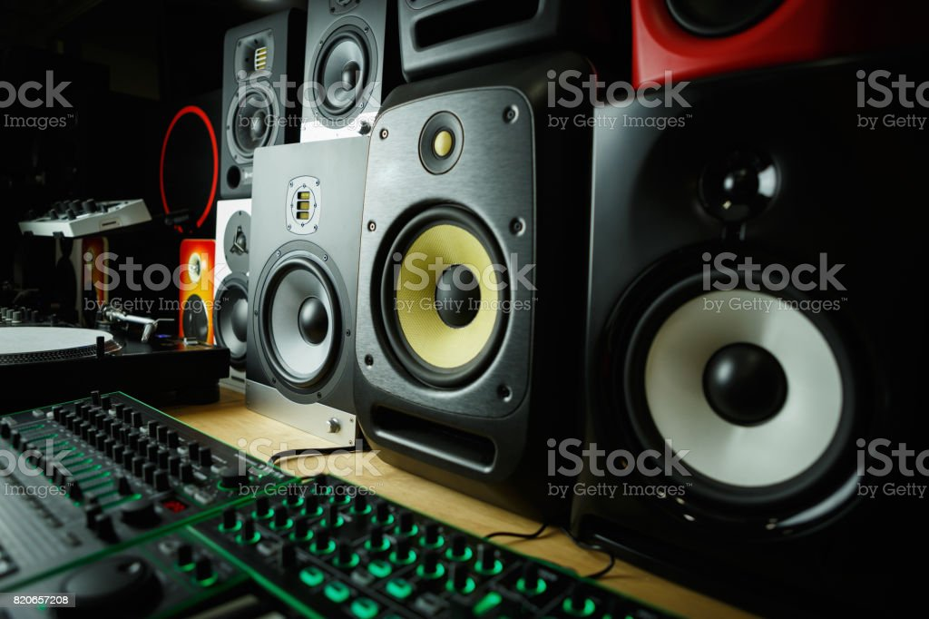 Hifi sound monitors for disc jockey or musician stock photo