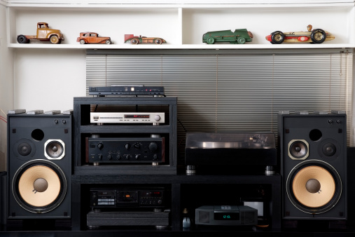 The room of the hobby, Hi-Fi sound system with vintage tin toy car.