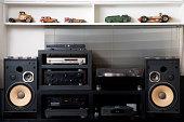 istock Hi-Fi sound system with vintage tin toy car 133962674