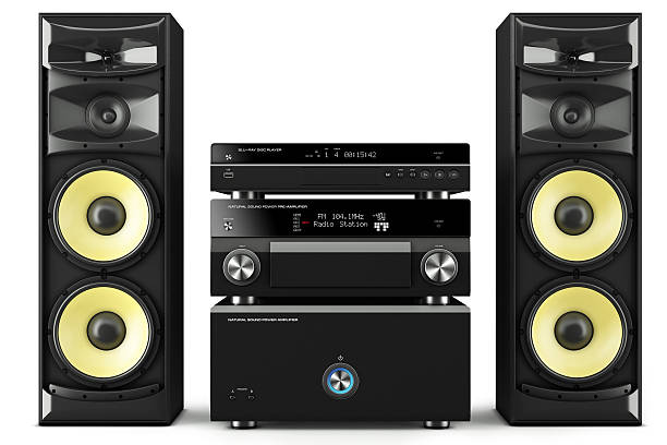 Hi-Fi stereo system Hi-Fi stereo system musical player, power receiver, yellow speakers, multimedia center stereo stock pictures, royalty-free photos & images