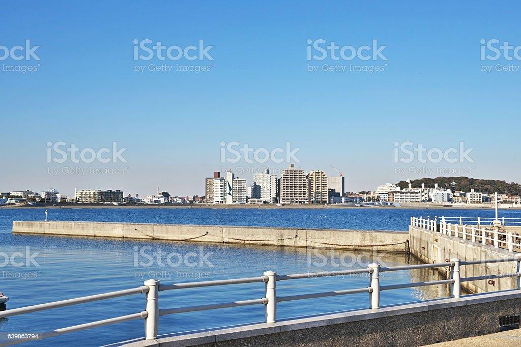 Higashihama beach and the cityscape( from Enoshima) stock photo