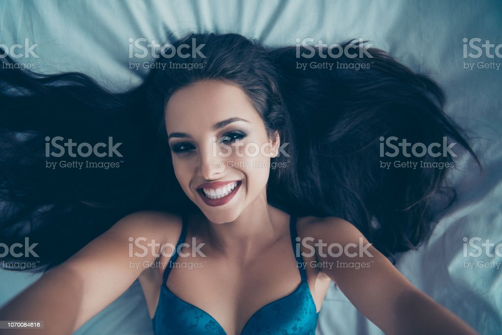 High above angle top view of careless carefree girll in blue stock photo
