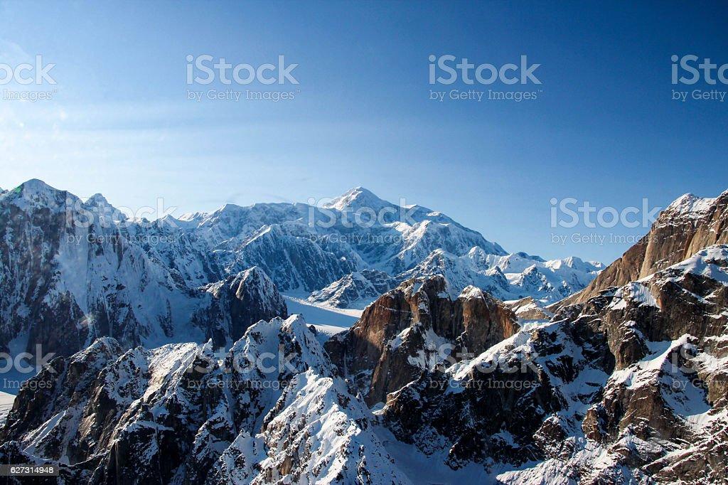 High above Denali National Park and Preserve, Alaska stock photo