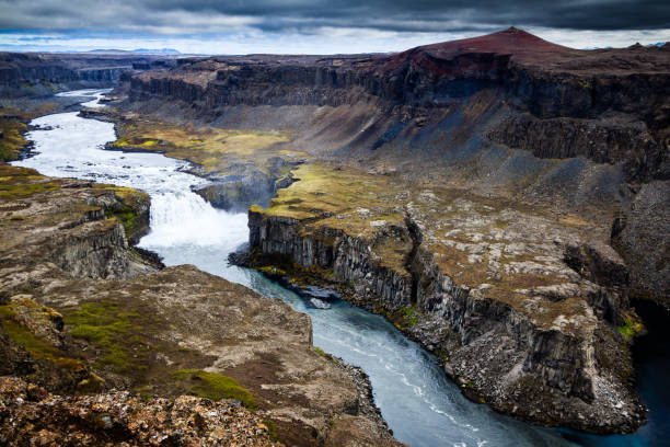 High Above Hafragilsfoss Waterfall stock photo