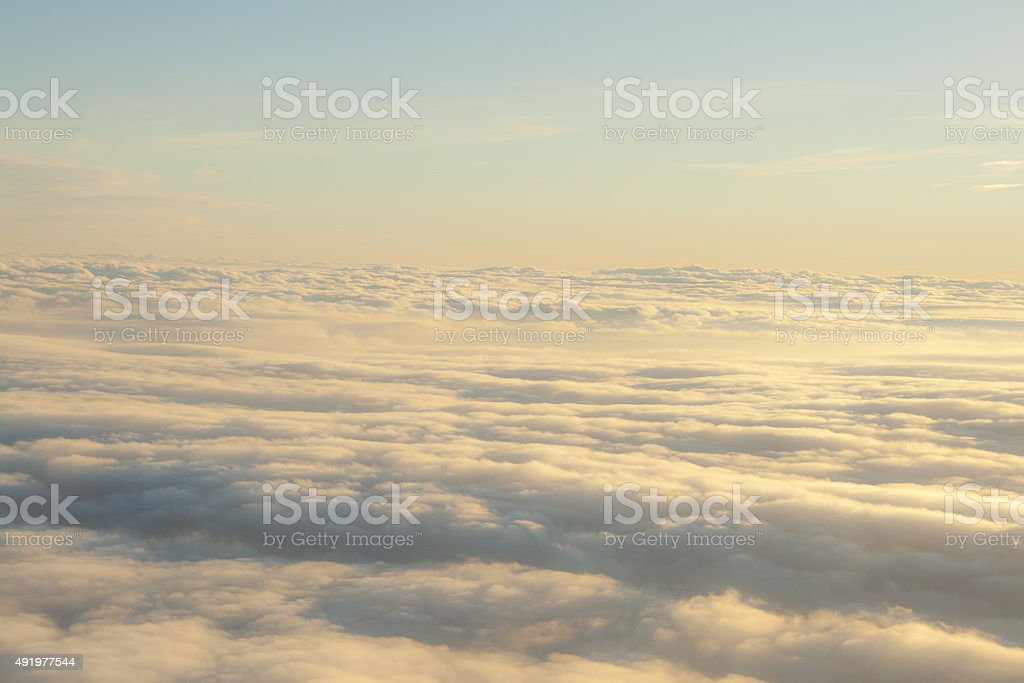 high above the clouds peaceful scene stock photo