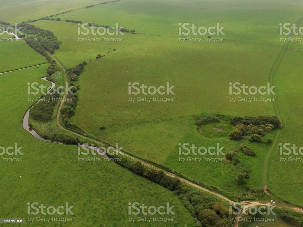 High aerial drone view of the Cuckmere Valley. - Royalty-free Agricultural Field Stock Photo