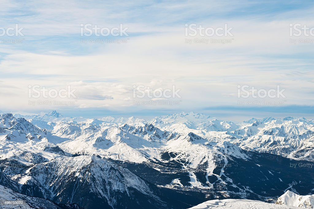High alpine mountain range aerial view winter landscape stock photo