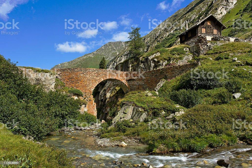 High Alpine Stone Bridge royalty-free stock photo