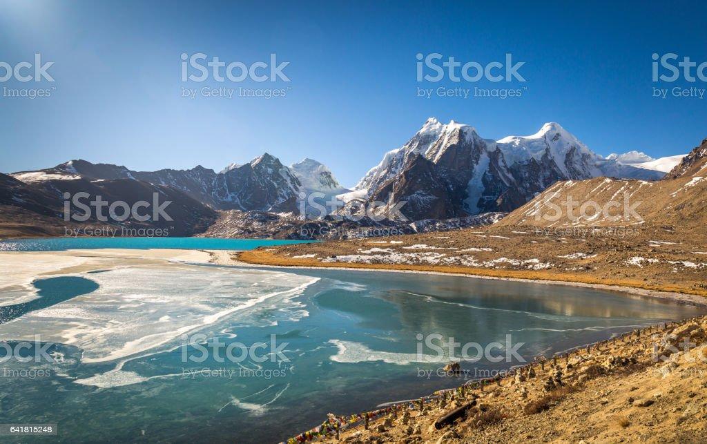 High altitude Gurudngmar Lake in North Sikkim, India. stock photo