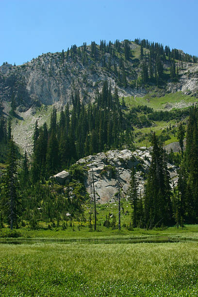 high altitude mountain scene stock photo