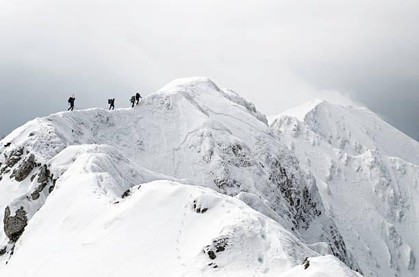 high altitude mountaineering stock photo