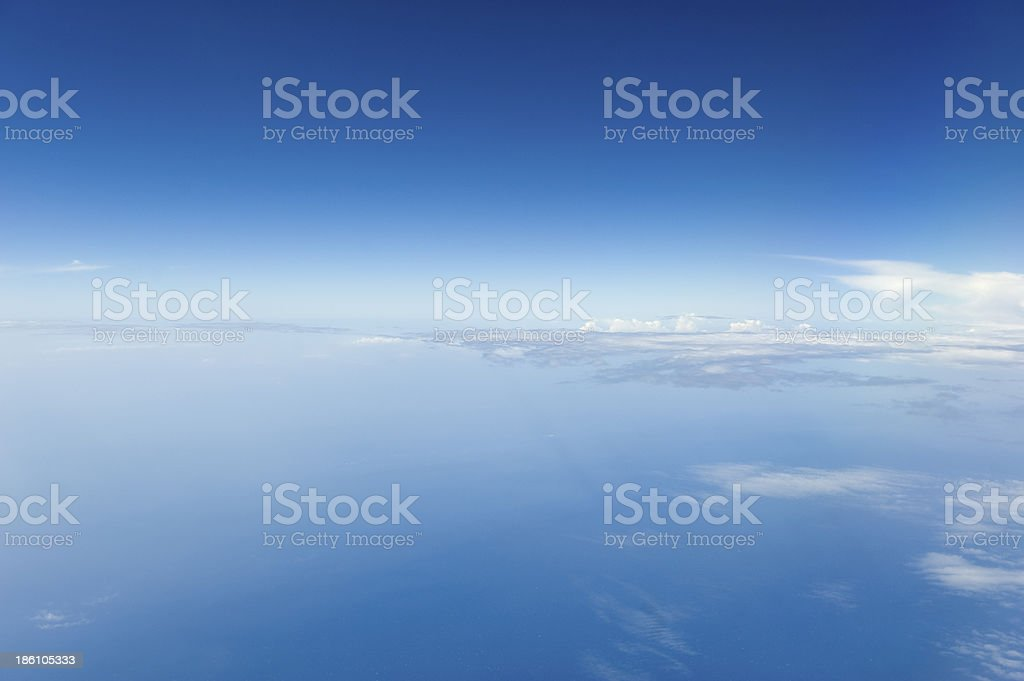 High altitude view of blue sky and clouds. royalty-free stock photo