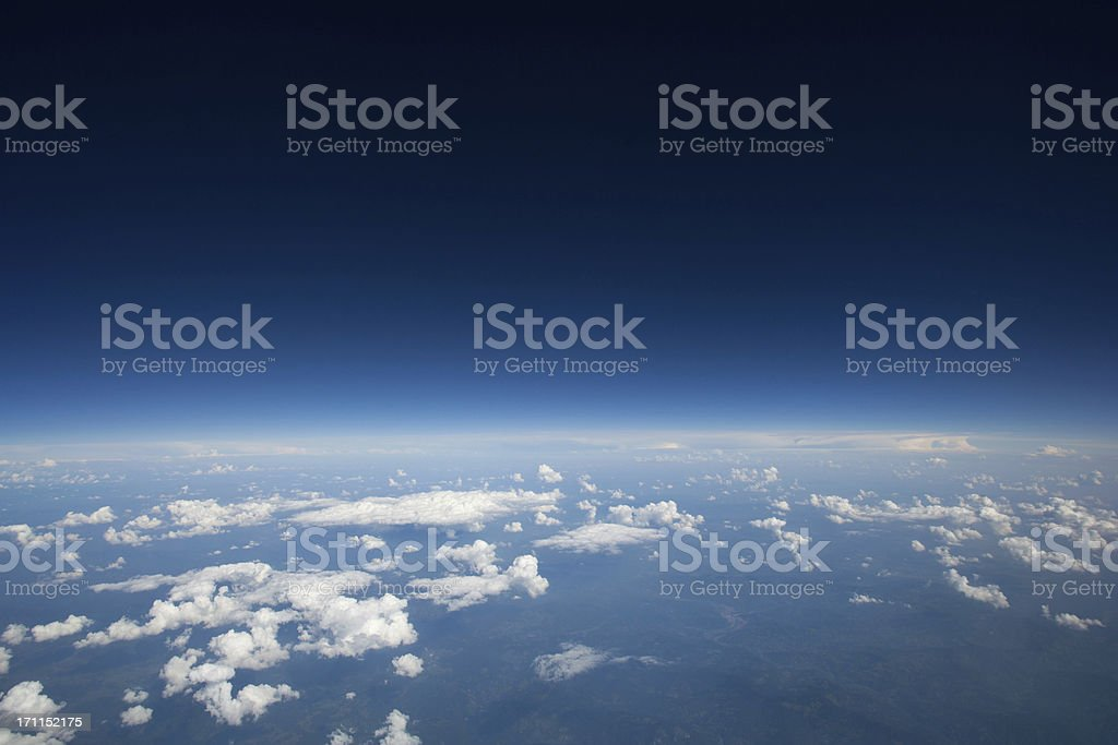 High altitude view of slight curvature to the earth... stock photo