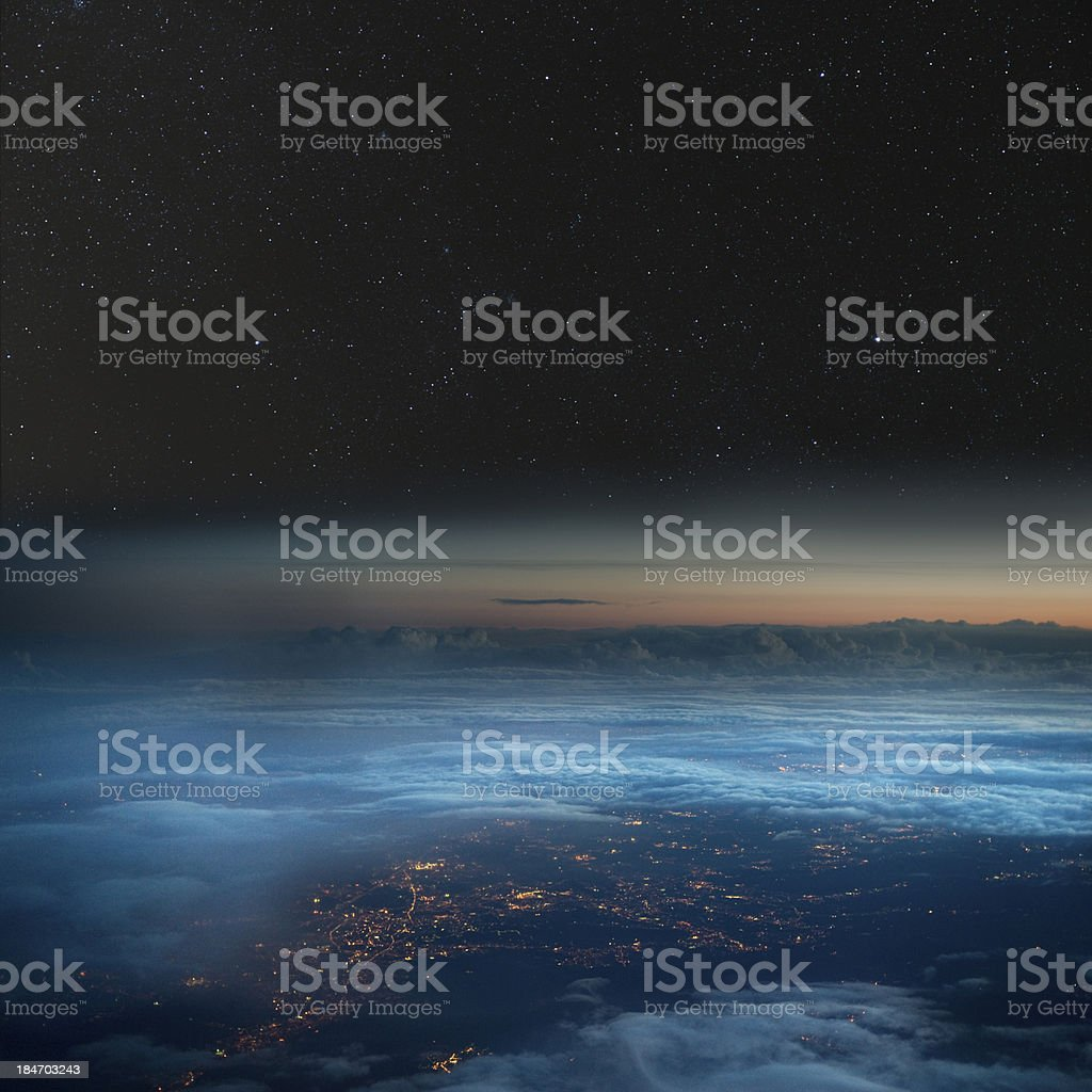 High altitude view of the Earth at night. stock photo