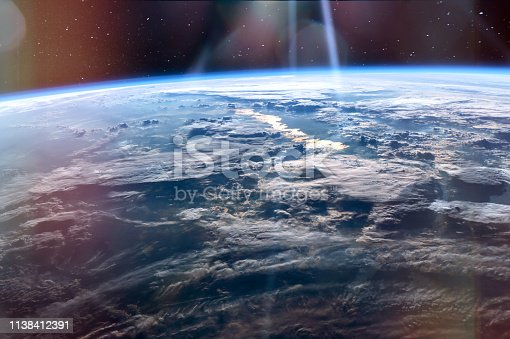 High altitude view of the Earth from space, blue planet with white clouds and deep black space. Elements of this image furnished by NASA.  /urls: https://images.nasa.gov/details-iss047e137096.html, https://images.nasa.gov/details-GSFC_20171208_Archive_e000127.html, https://images.nasa.gov/details-iss013e78960.html, https://images.nasa.gov/details-iss040e088891.html /