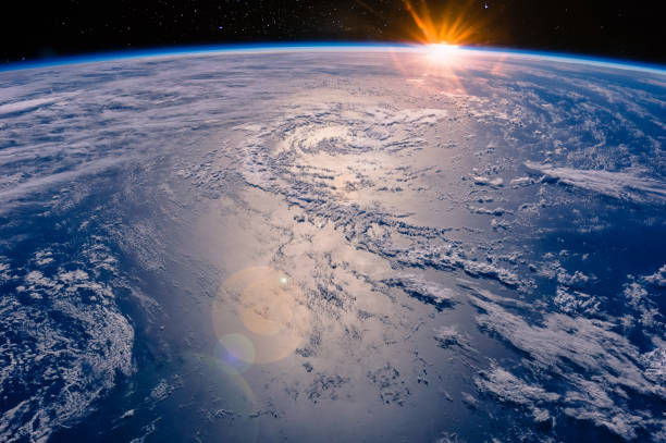 High altitude view of the Earth in space.  Elements of this image furnished by NASA. High altitude view of the Earth in space.  Elements of this image furnished by NASA. satellite view stock pictures, royalty-free photos & images