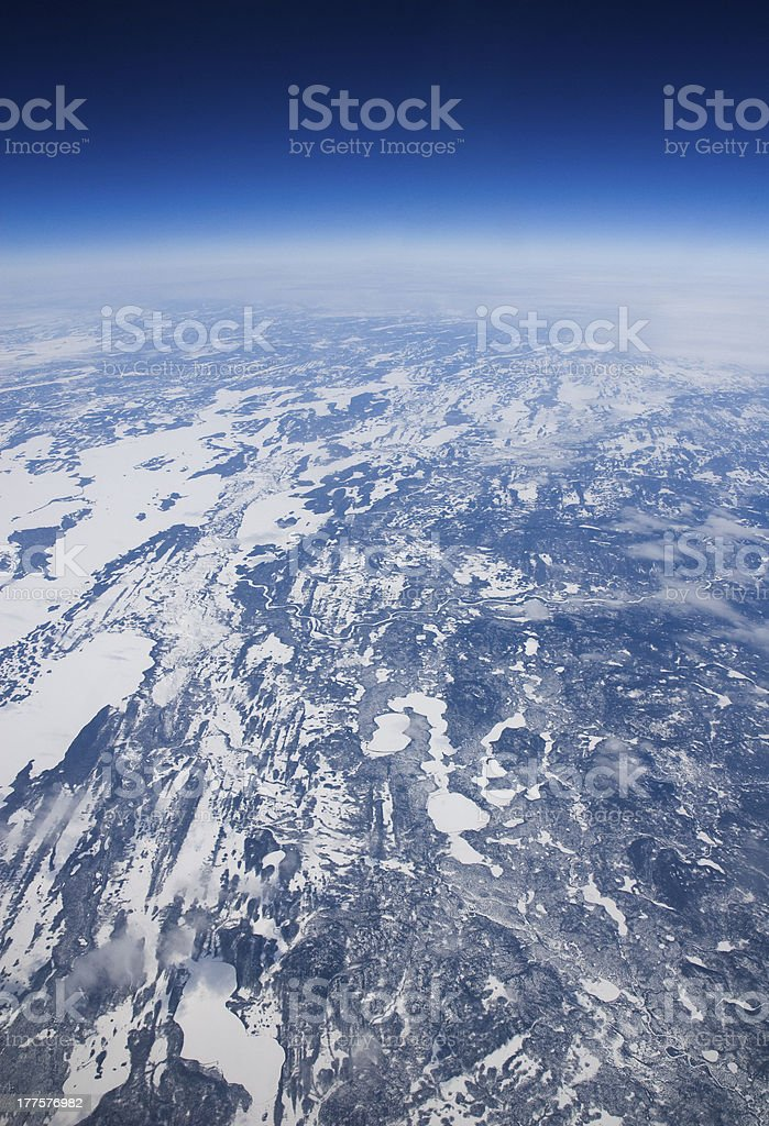 High altitude view of the frozen tundra in Arctic Canada. royalty-free stock photo