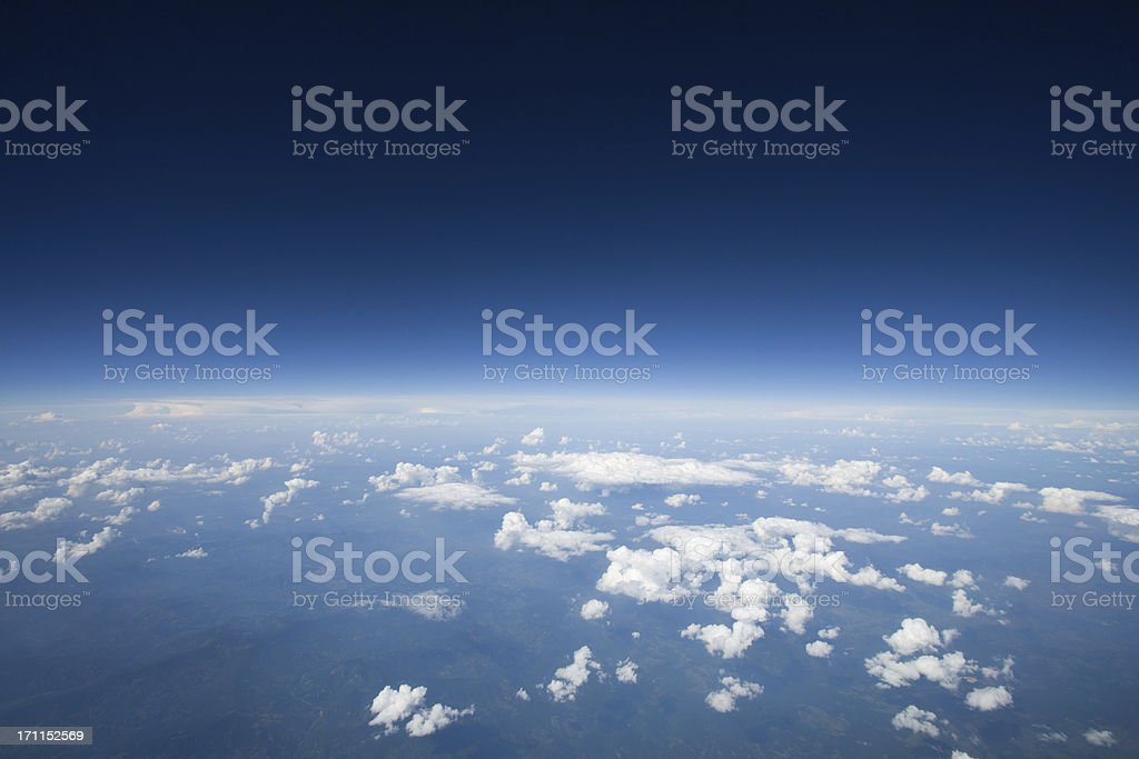 High altitude view of the slight curvature to earth.. stock photo